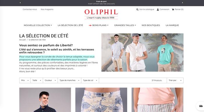 Création de page dédiée pour Oliphil